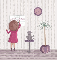 Girl cross out day on the calendar vector