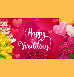 groom and bride silhouettes wedding card flowers vector image