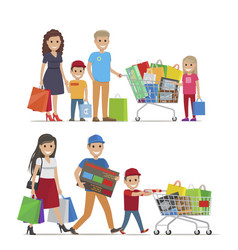 Groups of people doing shopping picture vector