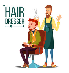 Hairdresser and man barber scissors vector