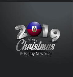Haiti flag 2019 merry christmas typography new vector