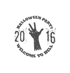 Halloween party label template with zombie hand vector