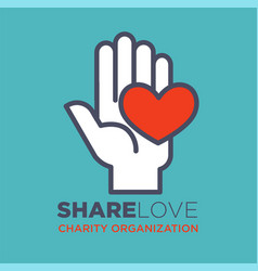 Hand and heart social love and charity vector
