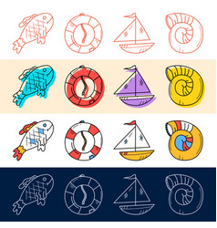 hand draw fish sea shell boat travel icon set vector image