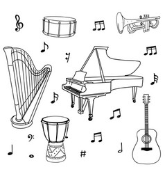 hand drawn music doodles instruments notes vector image