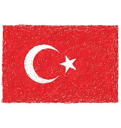 Hand drawn of flag of Turkey vector