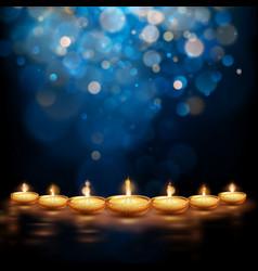 Happy diwali burning diya holiday vector