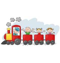 Happy little kids on a colorful train vector