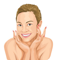 happy woman touching her face beauty concept vector image