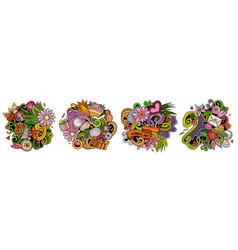 happy womens day cartoon doodle designs set vector image