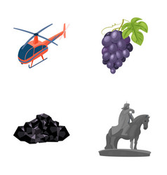 Helicopter grapes and other web icon in cartoon vector
