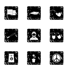 Hemp icons set grunge style vector