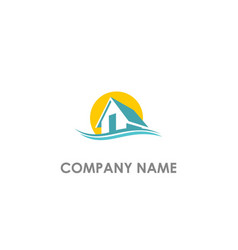 home realty water wave logo vector image