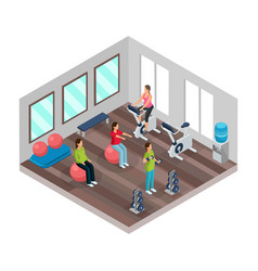 isometric pregnancy and fitness concept vector image