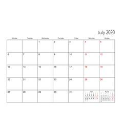 July 2020 simple calendar planner week starts vector
