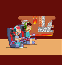 kids playing video games design vector image