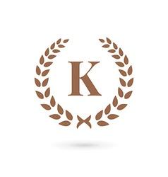 Letter K laurel wreath logo icon design template vector image