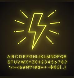 Lightning bolt neon light icon vector