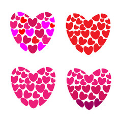 Many hearts in one heart on white background vector