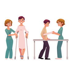 medical rehabilitation relearning to walk vector image