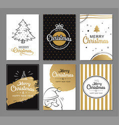merry christmas greeting cards with gold luxury vector image