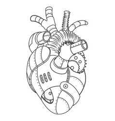 Metal heart coloring book vector