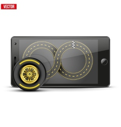 Mobile phone with racing wheel and track on the vector