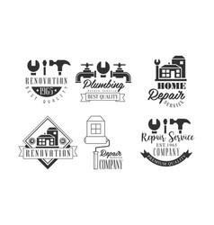 Monochrome logos for repairing companies plumbing vector