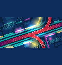 night city with transport interchange top view vector image