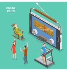 Online radio isometric flat concept vector