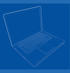 outline drawing laptop vector image