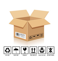 Packaging box brown color with symbol isolated vector