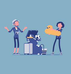 Packing luggage for travel vector