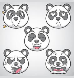 Panda emoticons set 4 vector