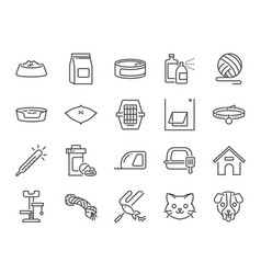 pet shop line icon set vector image