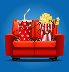 Popcorn and soft drink eating popcorn vector