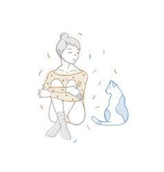 pretty girl wearing bodysuit and socks sitting vector image