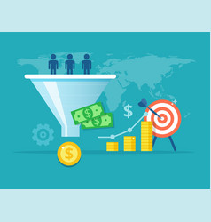 purchase funnel flat the vector image