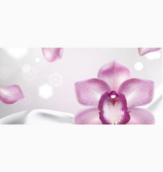 purple orchid on a white satin fabric background vector image