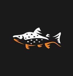 Salmon fish logo fishing emblem vector