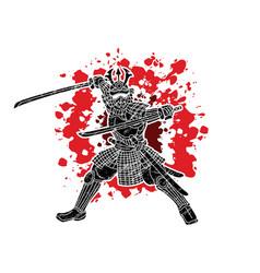 Samurai warrior with weapon bushido vector