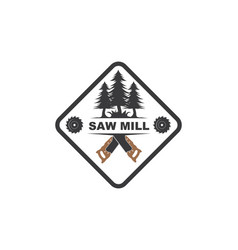 saw and pines tree logo icon saw mill wooden vector image