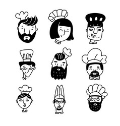 set chef cooks cartoon faces handdrawn vector image