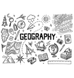 set of geography symbols equipments for web vector image