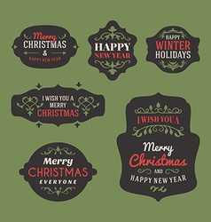 Set of Retro Vintage Christmas Holiday Labels and vector image