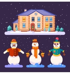 Set of snowmen in different styles vector