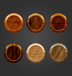 Set of wooden round buttons vector image