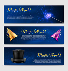 set with magic wand top hat and party hats vector image