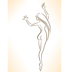 Silhouette of nude dancing slender girl vector image
