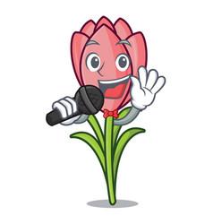 singing crocus flower mascot cartoon vector image